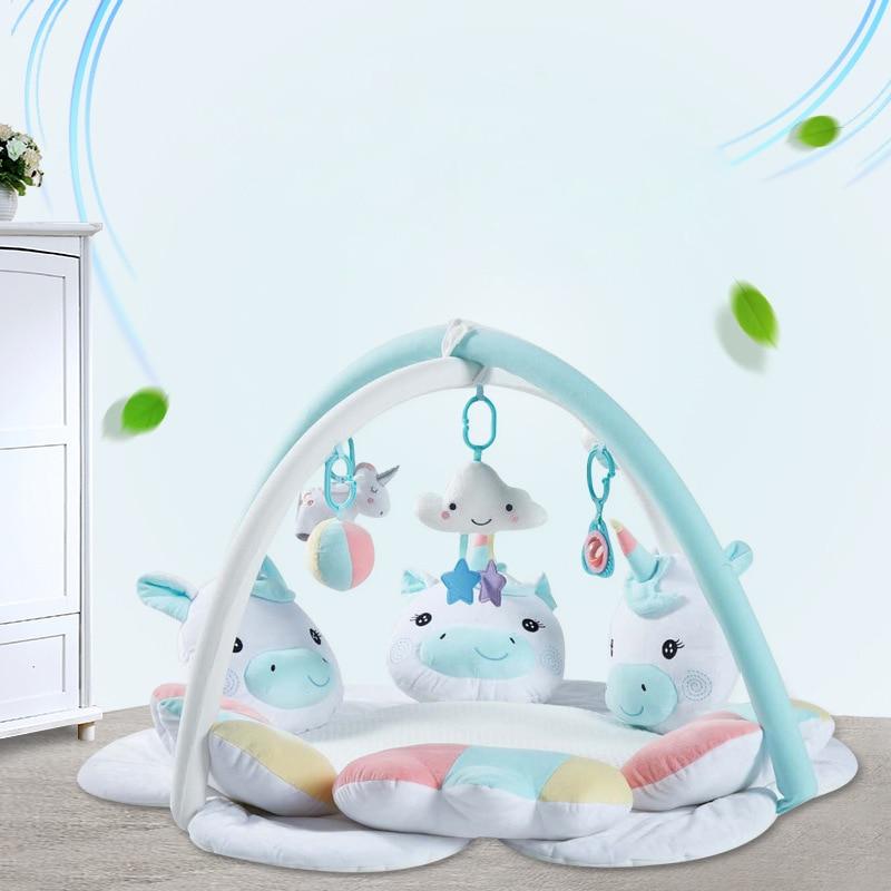 Plush Baby Gym Hout Toys Baby Play Gym Soft Unicorn Baby Rack Playmat Tummy Time Activity Mats with Frame Nursery Sensory Items