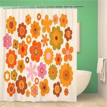 Shower Curtain Orange Retro Bathroom-Decor Polyester Vintage Green Waterproof 70S 60x72-Inches