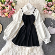 French Style Elegant Suit Sexy Strapless Camis Slim Fit A-line Women Dress + Lantern Sleeve Short Shirts 2 Piece Set
