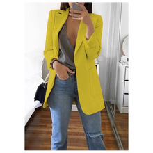 Long Blazers Women Ladies Femme Mujer Dames Casual Office White Black Blue Red Y