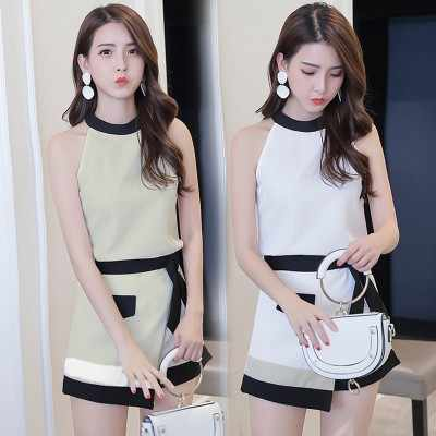 Korean Summer Fashion Off Shoulder 2 Set Woman Halter Patchwork White Cute Outfits For Teens Women 2 Piece Set Bow Clothes