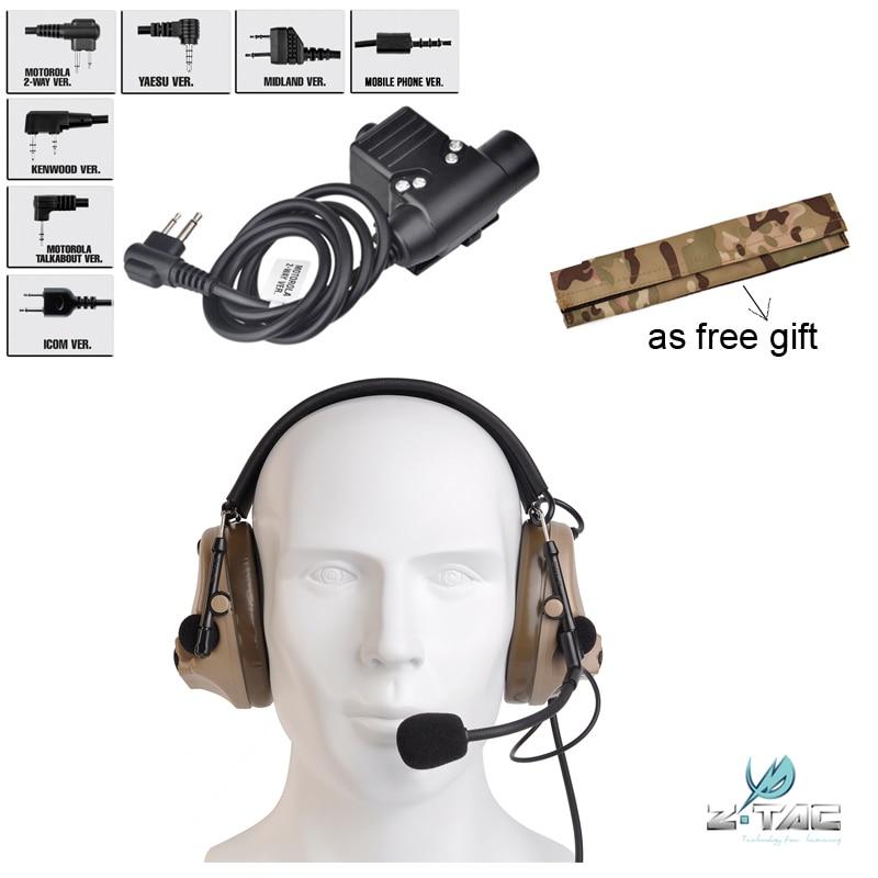 Genuine Upgrade Tactical Headset Flexible Comtac III C3 Peltor Z051 DE And PTT U94 Airsoft Z113 Free Camo Headband