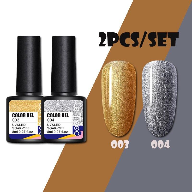 LEMOOC 8 мл Набор лаков для ногтей цвета розового золота яркий гель для ногтей Полупостоянный Блестящий цветной гель все для