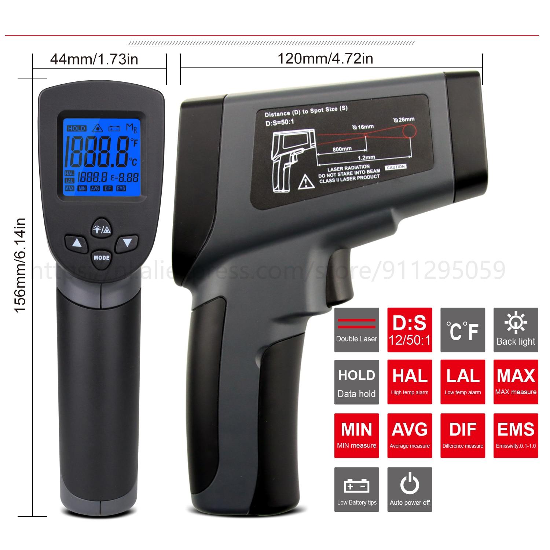Kaemeasu Digitale Infrarood Thermometer -50 ~ 1600 Meetbereik, Non-contact, Veiligheid, Koken, industriële Elektronische Thermometer Pistool 3