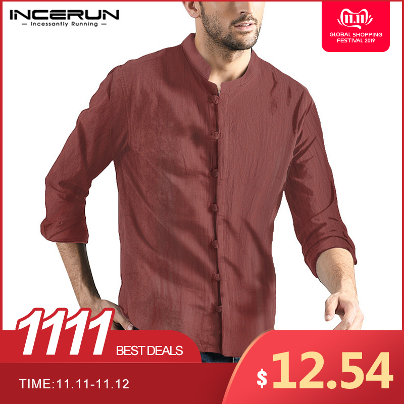 INCERUN Men Traditional Chinese Clothing Long Sleeve Collar Cotton Linen Blouse Literary Retro Buckle Shirt Camisa Masculina
