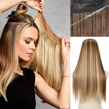 Прямые накладные волосы с эффектом омбре без зажима, синтетические натуральные черные светлые волосы, один кусок, накладные волосы на леске...