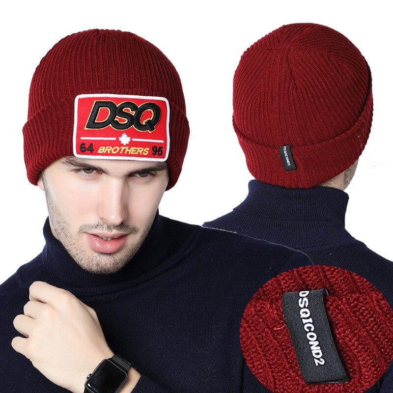 DSQ Europa Und Amerika Männer Im Freien Warme Wolle Kappe männer Set von Kopf Kappe Z AliExpress Heißer Verkauf Gestrickte hut