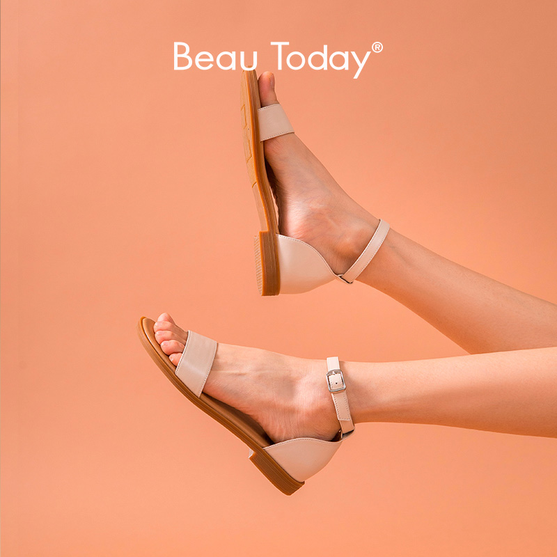 BeauToday Gladiator Sandals Women Genuine Cow Leather Cover Heel Ankle Strap Summer Ladies Casual Flat Shoes Handmade A32097