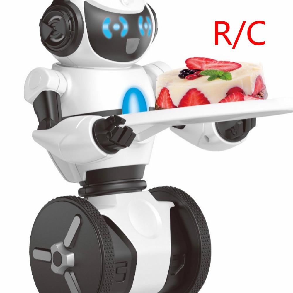 F1 2.4G RC Robot Toys 3-Axis Gyro Intelligent Gravity Sensor Restaurant Server Two Wheel Balance RC Smart Robot Kid Toy Robotics