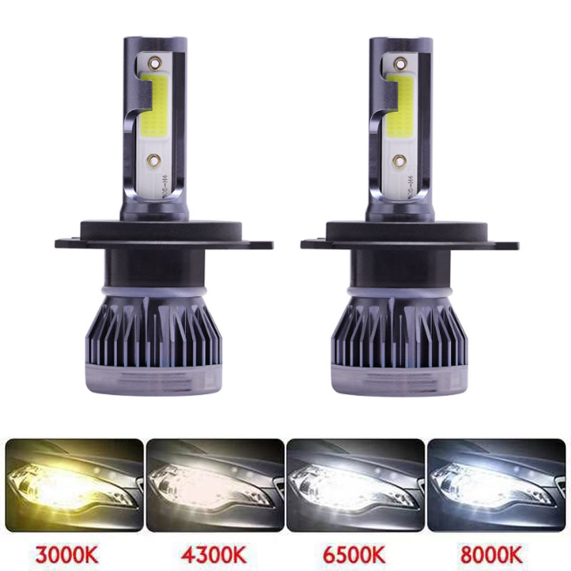 Muxall 2Pcs H4 LED H7 H11 H8 H9 9006 HB4 H1 9005 HB3 Car Headlight Bulbs LED Lamp With COB Chip 12000LM Auto Fog Lights 6000K