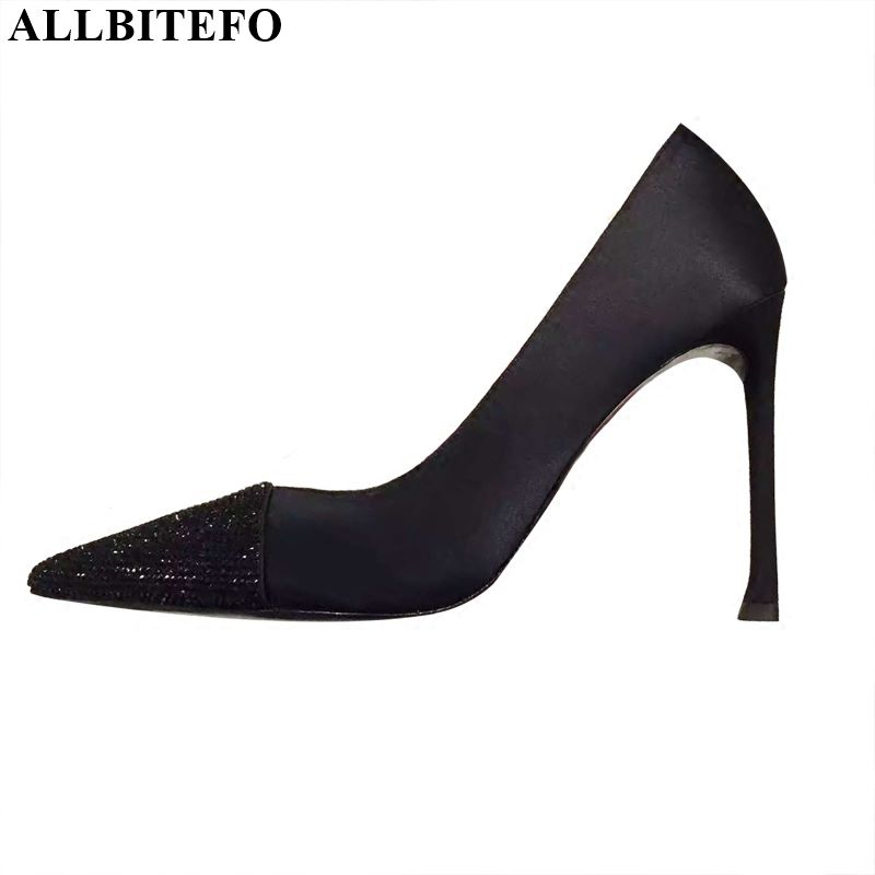ALLBITEFO Rhinestone Pumps High Heels Party Ladies Shoes Women High Heel Shoes Girl High Quality Women Shoes Women Heels