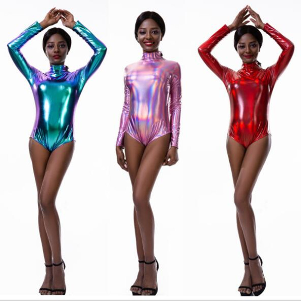 Laser Holographic Bodysuit Women Long Sleeve O Neck Zippered Back PU Wet Look Playsuits Autumn Party Jumpsuits Sexy Clubwear