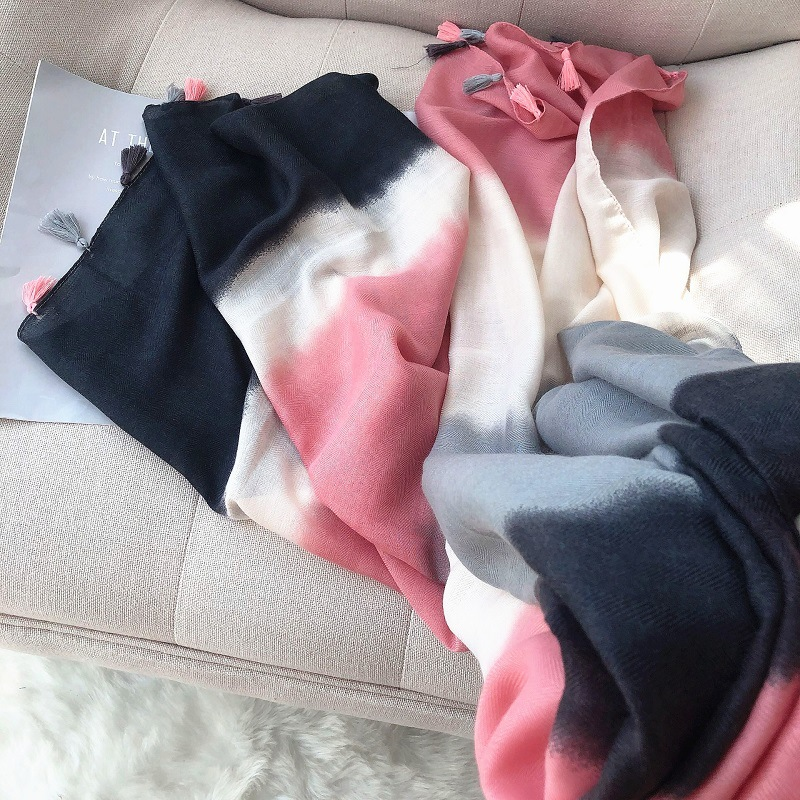 2019 Women Fashion Tie-dye Tassel Viscose Shawl Scarf Lady High Quality Autumn Winter Wrap Pashminas Stole Bufandas Muslim Hijab