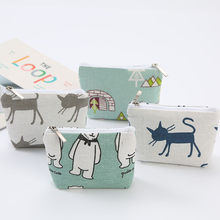 Womens Cotton Short Wallet Card Holder Cotton And Linen Life Coin Purse Cute Mini Sweet Wallets Storage Bag #xm3(China)