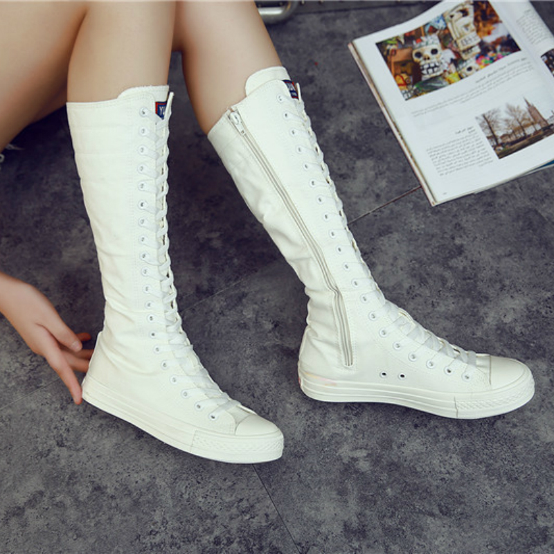 Woman Sneakers High-top Running Shoes High-length Dance Casual Canvas Side Zipper Lace Up Ladies High Boots