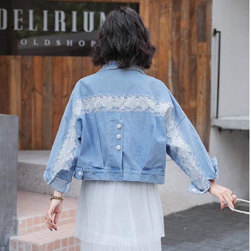 Новинка; Джинсовая куртка для женщин; кружевная женская джинсовая куртка; Осенняя винтажная куртка бомбер; базовые пальто; Верхняя одежда д