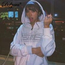 Dulzura – sweat-shirt à capuche à manches longues pour femmes, avec lettre imprimée en strass, fermeture éclair, ample, surdimensionné, Streetwear, décontracté, automne-hiver, 2020