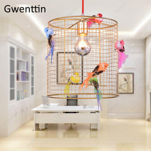 Image 5 - Креативный подвесной светильник в клетку для птиц, скандинавский Лофт, домашний декор для гостиной, спальни, подвесной светильник, современный светодиодный светильник, светильники