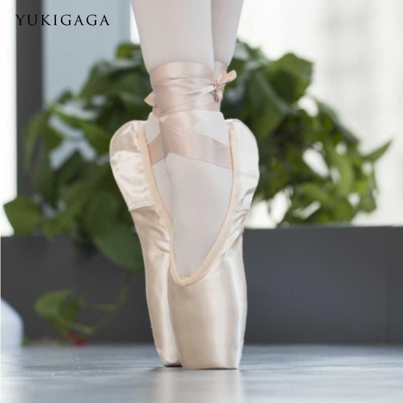 ขายซาตินบัลเล่ต์รองเท้า Pointe Professional สาวสุภาพสตรี Ballerina รองเท้าเต้นรำริบบิ้น