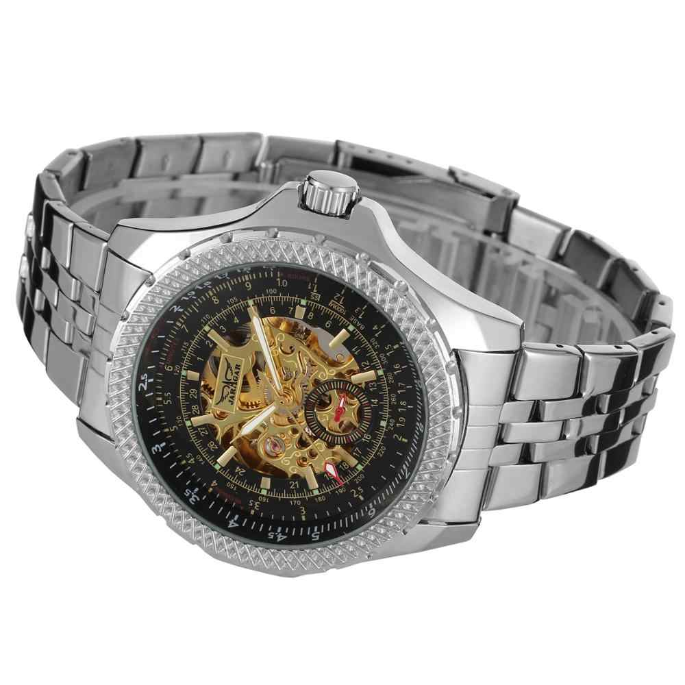 JARAGAR 2019 ブランドの高級メンズ腕時計スケルトン中空自動機械式時計男性ステンレス鋼腕時計レロジオ Releges