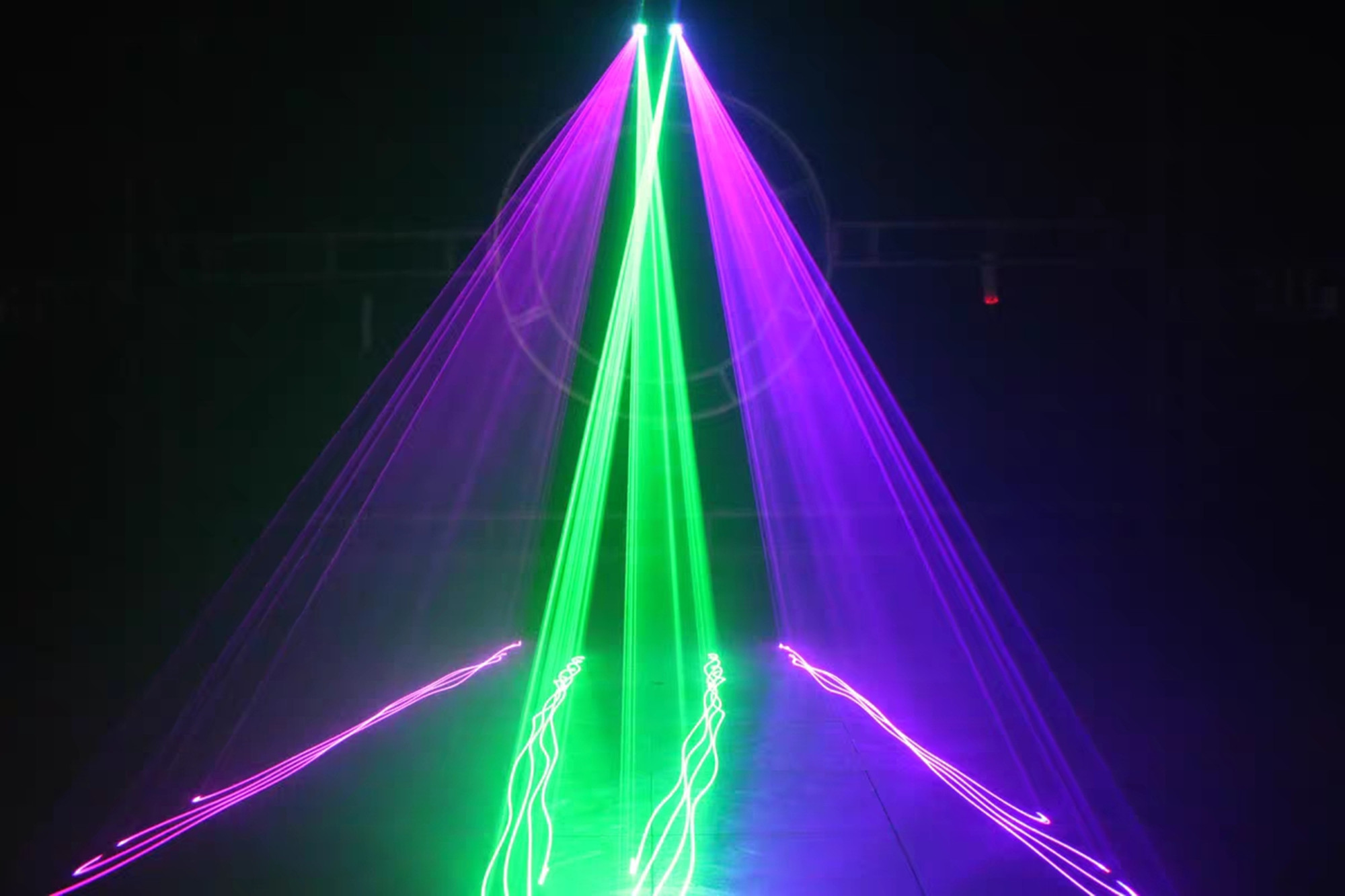 H7afff8f660c8416d8766b05c88c621f90 - Hot sales 2 Lens Red Green Blue RGB Beam Laser Light DMX 512 Professional DJ Party Show Club Holiday Home Bar Stage Lighting