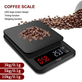 Precision Electronic kitchen scale 5kg/0.1g 10kg/1g LCD Digital Drip Coffee Scale with Timer weight Balance Household scale 1000g electronic balance measuring scale balance with lcd counting and weight balance 0 01g scale
