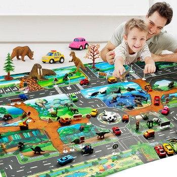 Waterproof Foldable 130x100 CM Dinosaur Animal World Scene Simulation Play Mats City Traffic Rule Parking Lot Game Play Mats Toy