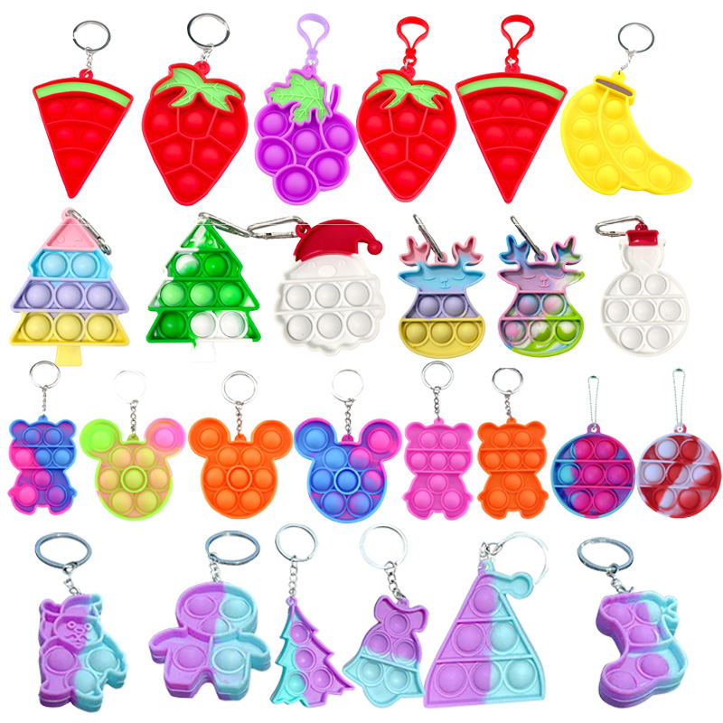mini pops fidget toy simple dimple its anti stress relief keychain push bubble silicone anxiety sensory for autism adhd chidlren