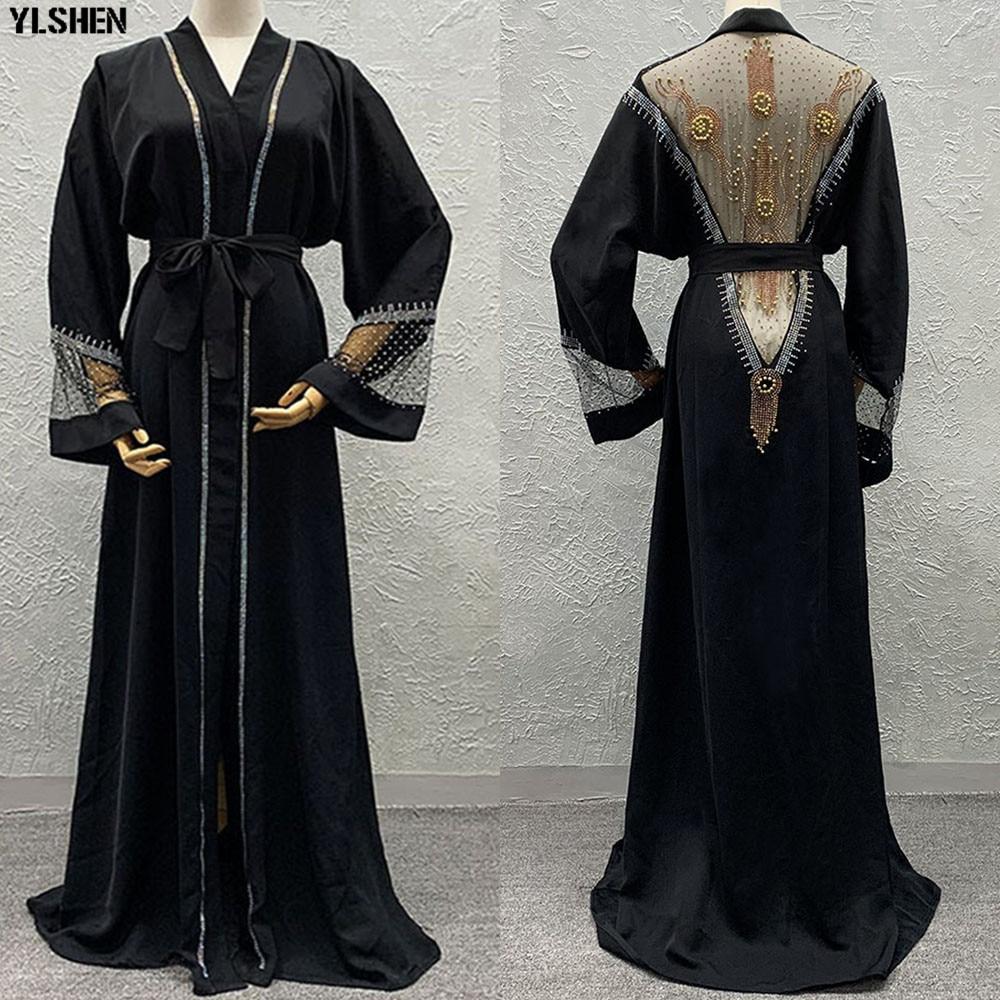Africa Dress African Dresses For Women Dashiki Luxury Mesh Diamond Abaya Dubai Muslim Dress Ramadan Kaftan Kimono Islam Clothing