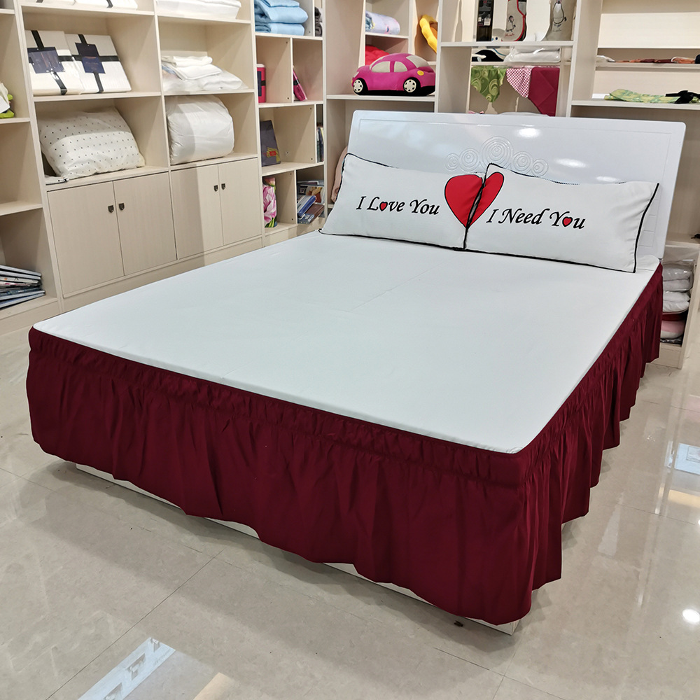 Systematic Pleated Bed Skirt Single And Double Dustproof Bed Cover Surrounding Bedding Plain Elastic Band Bed Apron