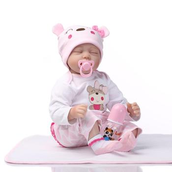 NPK 55cm Silicone Reborn Sleeping Baby Doll Kids Playmate Gift for Girls Baby Soft Toys for Bouquets Doll Bebe Reborn Toys