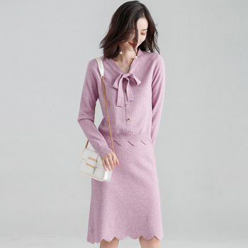 Dress Women's Suit 2019 New Style Autumn Clothing CHIC Debutante Graceful Knitting Suit Casual Two Pieces Dress Outfit
