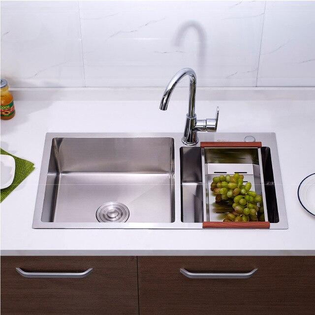Фото набор кухонной раковины из нержавеющей стали плотная мойка с