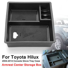 Black Armrest Center Storage Box Plastic Car-styling Accessories non-slip For Toyota Hilux 2004-2014