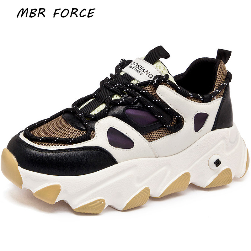 MBR FORCE Spring 2020 Women's Thick-soled Fashion Vulcanized Shoes Lace-up Sneakers Comfortable Women's Casual Shoes