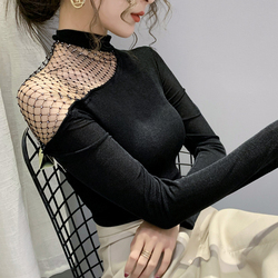 Korean style Slim Long-sleeved Sexy Strapless T-shirt Women Autumn Spring Mesh Stitching Tops Fashion Hollow out shirt