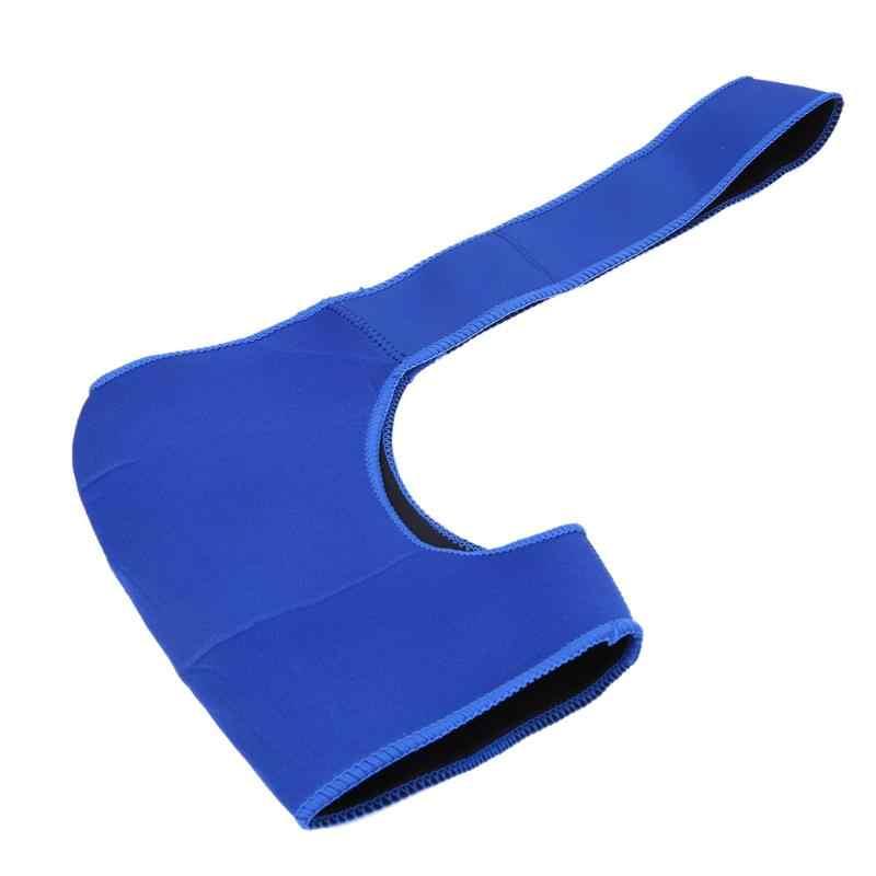 Mavi omuz desteği koruyucu erkekler kadınlar ayarlanabilir Gym spor Wrap Guard