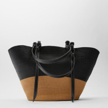 New straw bag woven color stitching basket large capacity hand-woven bag female bag fashion seaside beach vacation Shoulder bag