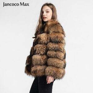 Image 2 - Fashion Style Fur Jacket Womens Real Raccoon Fur Coat Winter Keep Warm Luxury Outerwear S7375