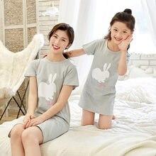 Coelho dos desenhos animados meninas camisola terno crianças verão nightdress bebê meninas roupas de casa mãe crianças noite vestido menina sleepwear