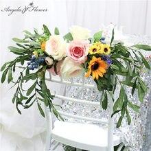 Guirnalda de flores artificiales guirnalda nupcial ramo silla trasera Flor de árbol hojas verdes plantas Rosa peonía accesorios de decoración de boda