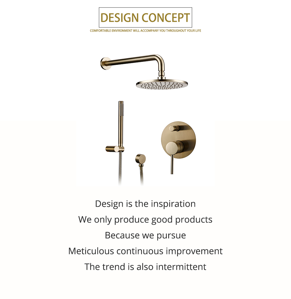 """H7b00b0f0263b4bb99f278eb262cab6b3V Bathroom Bath Faucet Brass Diverter Mixer Tap Set Brushed Gold Rain Fall Valve System Kit Hand held 8-12""""Shower Head Wall Arm"""