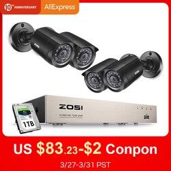 ZOSI 8CH CCTV Sistema 4PCS 720p/1080p Esterna Resistente Alle Intemperie Telecamera di Sicurezza DVR Kit Day/Night home Video Sistema di Sorveglianza