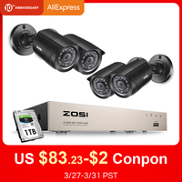 ZOSI 8CH CCTV System 4PCS 720p/1080p Outdoor Weatherproof Security Camera DVR Kit Day/Night Home Video Surveillance System