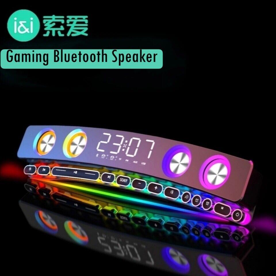 Bluetooth אלחוטי משחקים רמקול קול בר USB 3D סטריאו סאב AUX FM בית שעון מקורה קול בר מחשב רמקול 3600mAh