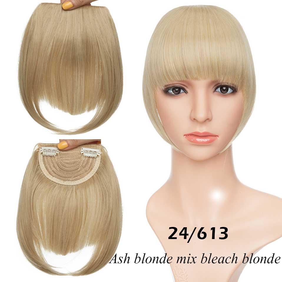 SNOILITE короткие передние тупые челки Клип короткая челка волосы для наращивания прямые синтетические настоящие натуральные накладные волосы - Цвет: 24-613
