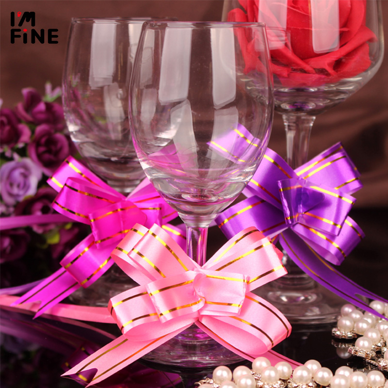 100PCS/Pack Wedding Glossy Butterfly Knot Car Handle Hand Pull Flower Gift Packaging Home Wrapping Decoration 1.2x 23cm
