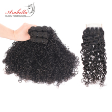 3/4 Bundles With Closure Brazilian Double Curly Hair Arabella Remy Human 4*4 Lace