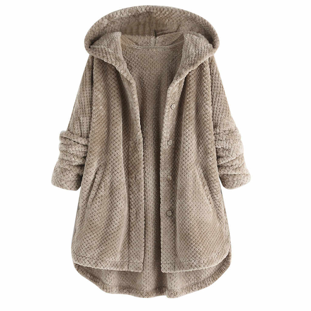 Winter Coat Women Fur Coat Plus Size Fleece Irregular Long Sleeve Button Pocket Hooded Teddy Coat Kamizelka Futerko 9m3