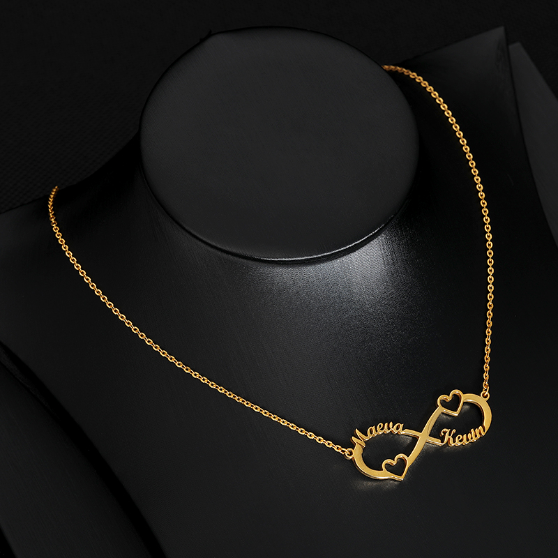 Customized Name With Heart Pendant Necklace Silver Gold Chain Stainless Steel Personalized Infinity Necklace Couple Jewelry Gift